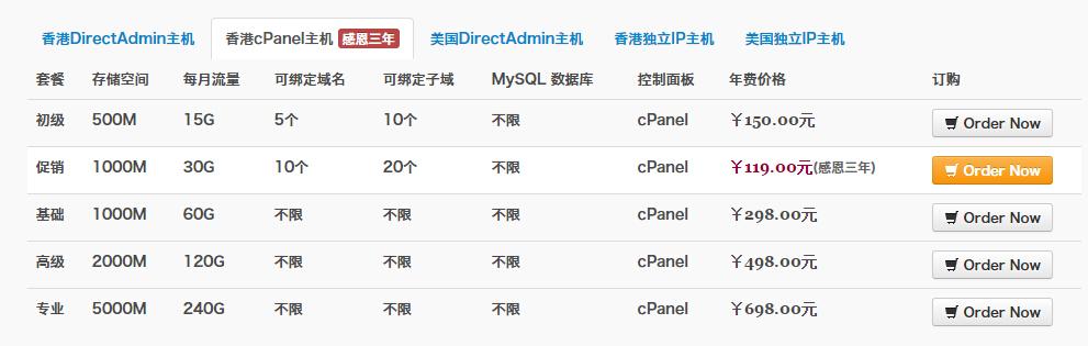 [主机福利]3号主机感恩三年,有你! 香港电讯cPanel主机¥119元-苏醒