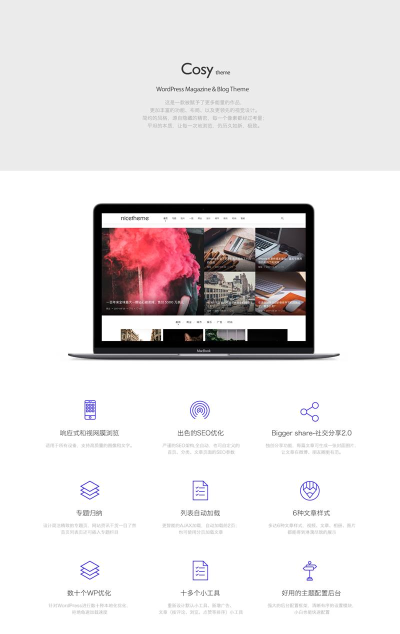 Cosy主题:漂亮得不像实力派的WordPress多功能主题-苏醒主题