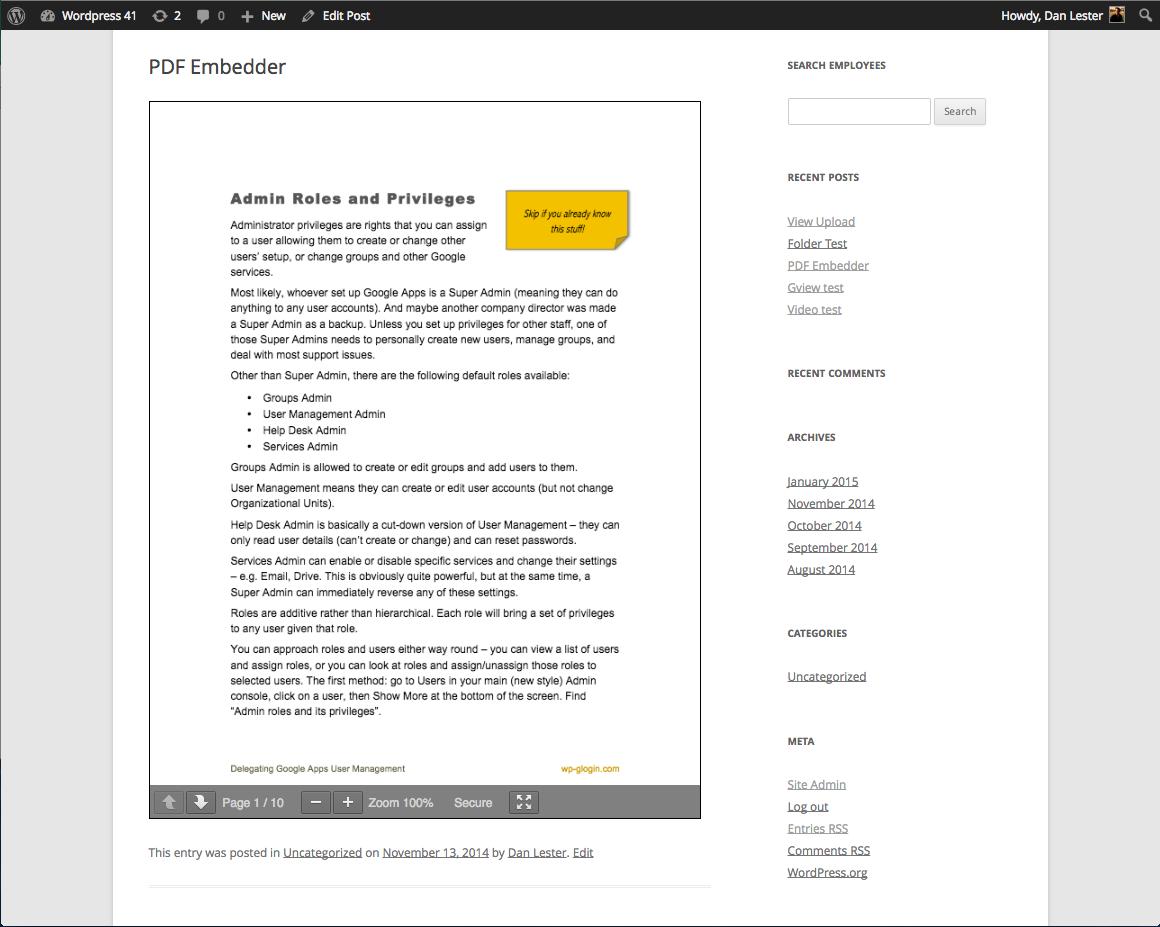 WordPress 插件推荐:文章中嵌入 PDF 文件 PDF Embedder-苏醒