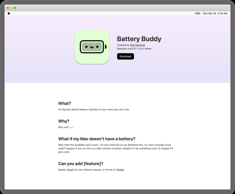 macOS 软件分享:Battery Buddy一个可爱的电量指示图标-苏醒